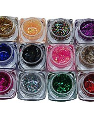 12PCS Mixs Pure Color Glitter UV Color Gel for Manicure Nail Tips(8ml)