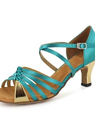 Customizable Women's Dance Shoes Latin Leatherette Customized Heel Blue