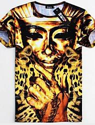Men's T-Shirts , Cotton Blend Casual Moumtaim