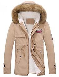 Men's Regular Parka Coat , Others Pure Short Sleeve