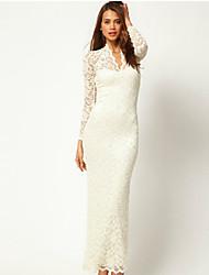 Jimi Women's Lace Sexy Slim V-neck Long Sleeve Dress
