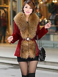 AiFeiLi Big Fur Collar Faux Rabbit Hair Long Coat (Wine)