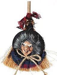Halloween Haunted House Bar Decoration Props Witch Broom Terrorist Devil Toys(Random Color)