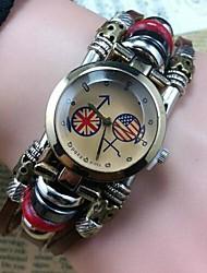Women's Retro High Quality Round Header Leather Quartz Movement Bracelet Watches