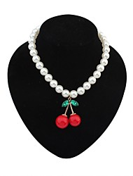Women's Exquisite Cherry Pendant Pearls Necklace