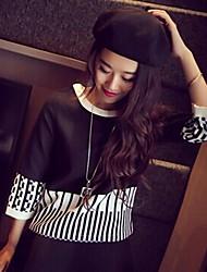 teclas blancas y negras de las mujeres de la impresión camiseta larga manga