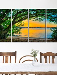 lago e il paesaggio albero di clock in tela di canapa 4pcs