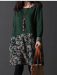 Women's Plus Size Dress , Cotton Above Knee Long Sleeve