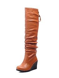 Women's Shoes Round Toe Wedge Heel Knee High Boots with Lace-up More Colors available