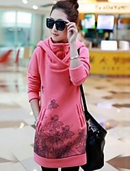 donne stanno stampa coreana con cappuccio felpa midi