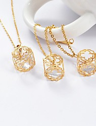 Fashion Titanium Steel Gold Plated Flower CZ Diamond Inside (Necklace&Earrings) Jewelry Set