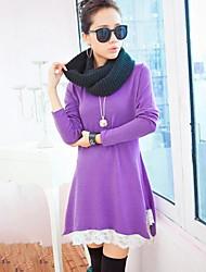 De las mujeres Línea A Vestido Tallas Grandes / Casual Un Color Sobre la rodilla Escote Redondo Cachemira / Encaje / Punto Romano / Punto