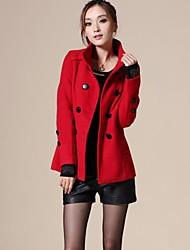 Women's Woolen Trench Double Medium Long Coat