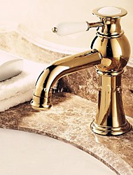Luxury European Style Golden Shot One Hole One Ceramic Handle Bathroom Sink Faucet