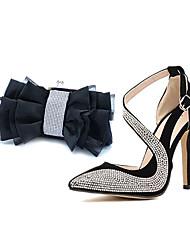 pompes de chaussures pour femmes à bout pointu talon aiguille chaussures assorties sac de soirée