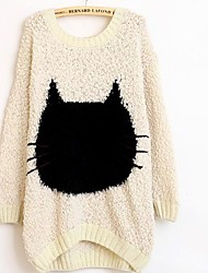 Women's  Round Neck Long Cat  Sleeve Bat Type Sweater