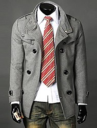 Men's In The New Double-Breasted Collar With Long Trench coat