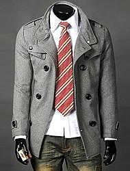 Men's Long Sleeve Long Trench coat Pure