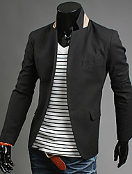 Men's Casual Single Fastener Suit Jacket (White,Black,Orange,Blue)