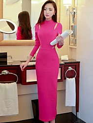Women's Solid Pink/Black Dress , Bodycon/Maxi Turtleneck Long Sleeve