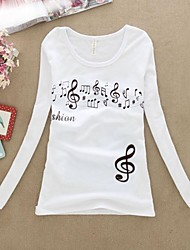 Women's Fashion Slim Printed Long Sleeve O-Neck T-Shirts
