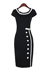 quadrado manga curta vestido bodycon midi das mulheres com botões