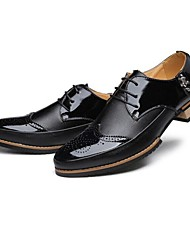 Men's Spring / Fall / Winter Pointed Toe Leather Dress Flat Heel Lace-up Black