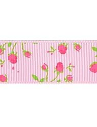 Impression de ruban de nervure de modèle romantique rose 3/8 de pouce ribbon- 25 mètres par rouleau (plus de couleurs)