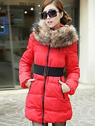 Women's Fur Collar Slim Collar Jacket Hooded Down Coat