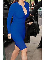 Nature Women's V Neck Sheet Metal Blue Dress Q08W
