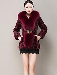 Zijindiao® Women's Genuine Mink Fur Coat with Large Fox Fur Collar