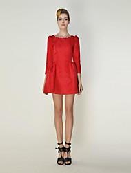 Women's Red Dress , Bodycon ¾ Sleeve