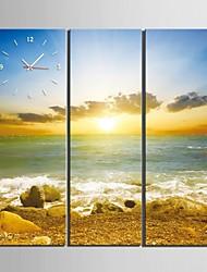 costa di orologio paesaggio sunrise in tela di canapa 3pcs