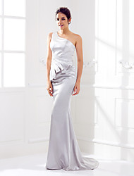 Lanting Sweep/Brush Train Stretch Satin Bridesmaid Dress - Silver Plus Sizes / Petite Trumpet/Mermaid One Shoulder