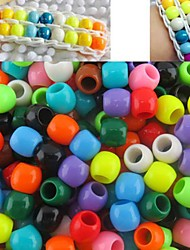 Approx 300PCS Mixed Random Color 8x9MM Pearlescent Pony Beads For Rainbow Loom Bands Bracelet DIY Accessories