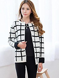 Women's Europe And America Slim Plaid Sweater Coat Sweaters