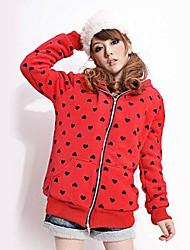 Women's Red Hoodies , Casual/Cute Long Sleeve