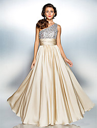 Homecoming Prom/Military Ball/Formal Evening Dress - Champagne Plus Sizes Sheath/Column One Shoulder Floor-length Satin Chiffon