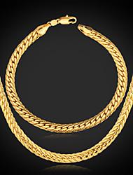 Men's Chunky 18K Gold Plated Jewelry Set (Necklace & Bracelet)