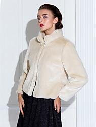 Grueso de manga larga de pie Collar Fiesta / Casual chaqueta de piel falsa (más colores)