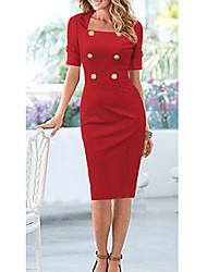 VERYM Women's Half Sleeve Double-Breasted Slim Dresses