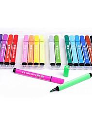 18PCS Bear Pattern Plastic Can Wipe Watercolor Pen Educational Toys