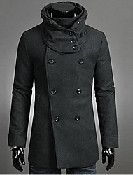 INMUR Men's Hooded Detachable Double-Breasted Trench Coat