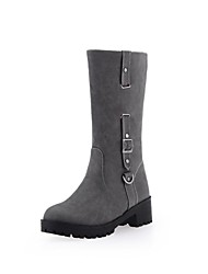 Women's Shoes Platform Round Toe Chunky Heel Mid-Calf Boots with Zipper More Colors available