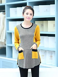 Maternity Round Collar  Chidori Grid Square Mosaic Sweater