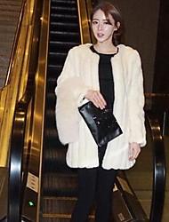 Women's Korean Style Elegant Fur Jacket Mid Long Winter Coat Fur Coat