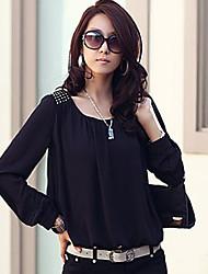 xiaonvren Puff-Ärmel Chiffon shirt_x19 (schwarz)