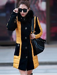Women's V Neck Pu Patchwork Cotton Padded Coat