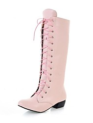 Women's Shoes Leatherette Fall / Winter Riding Boots Boots Dress Chunky Heel Lace-up Black / Pink / White