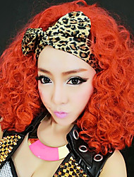 Wild Club Singer Orange Red Synthetic Fiber 50cm Women's Halloween Party Wig